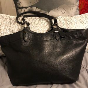 All black leather coach bag